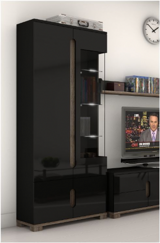 Costa Glass and Black Gloss 2 doors Display Unit - 2578